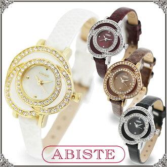 BISTE (Abbott) 玫瑰图案皮带手表 / 白色 9300021 / 白色,紫色,棕色,黑色
