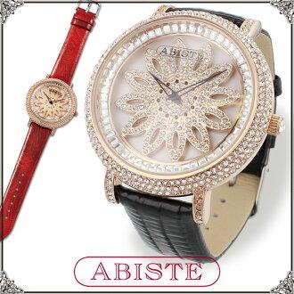 ★ ★ ABISTE (Abbott) round-facemovingflower belt Watch / Red and black 9400083