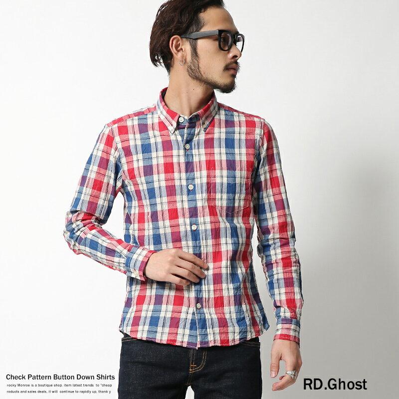 【SALE⇒50%OFF】チェックシャツ メンズ 日本製 リネンシャツ 麻 ラミー 長袖シャツ 国産 RD.Ghost 5359