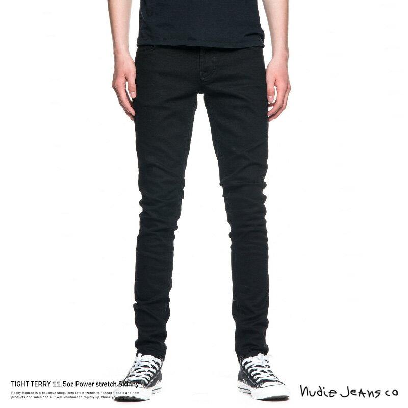 Nudie Jeans ヌーディージーンズ TIGHT TERRY DEEP BLACK デニム メンズ タイトテリー スリムフィット スキニーフィット 112451032 787DEEPBLACK 7714