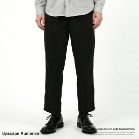 イージーパンツ メンズ タック 9分丈 ワイド 太め テーパード ブラック ストレッチ 国産 Upscape Audience アップスケープオーディエンス AUD3393 7897