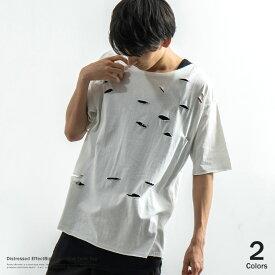 Tシャツ メンズ 半袖 無地 ロング丈 オシャレ タンクトップ ビッグT ダメージ クルーネック 8092