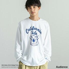 ロンT メンズ プリント Tシャツ USAコットン 米綿 丸胴 長袖 クルーネック カレッジT UCLA Audience オーディエンス AUD6115 AUD6116 8731