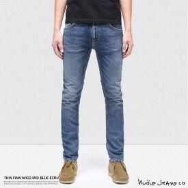 Nudie Jeans ヌーディージーンズ THIN FINN N002 MID BLUE ECRU 112943030 49161-1125 メンズ デニム ヴィンテージ スリム オーガニックコットン 綿 8764