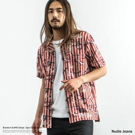 Nudie Jeans ヌーディージーンズ Brandon Graffiti Stripe ブランドン 半袖シャツ メンズ 開襟 ボウリング オープンカラー キューバ インド綿 フェアトレード コットン ストライプ 総柄 140597 8855