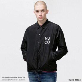 Nudie Jeans ヌーディージーンズ コーチジャケット リップストップ メンズ Josef ブラック 無地 シンプル カジュアル ストリート リサイクル繊維 撥水 ライトアウター 160654 8984