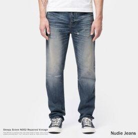 Nudie Jeans ヌーディージーンズ Sleepy Sixten Repaired Vintage デニムパンツ リジッド メンズ ジーンズ ジーパン リラックスフィット ストレート バギー ボタンフライ オーガニックコットン 綿 113133030 9081