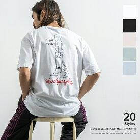 MARK GONZALES マークゴンザレス Tシャツ メンズ レディース 半袖 カジュアル ストリート ビッグシルエット 綿 コットン プリント ロゴ イラスト グラフィック ペア お揃い プレゼント 別注 限定 9496