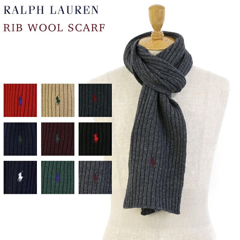POLO by Ralph Lauren Rib Wool Scarf ラルフローレン リブ ウール スカーフ マフラー ポニー刺繍 ワンポイント