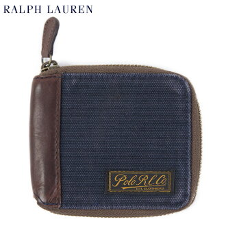 POLO Ralph Lauren CANVAS ZIP WALLET US Polo Ralph Lauren canvas leather wallet purse