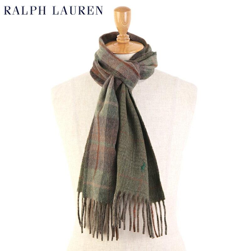 POLO by Ralph Lauren Double-Faced Scarf (OLIVE) ラルフローレン ダブルフェイスのウール混紡 スカーフ マフラー