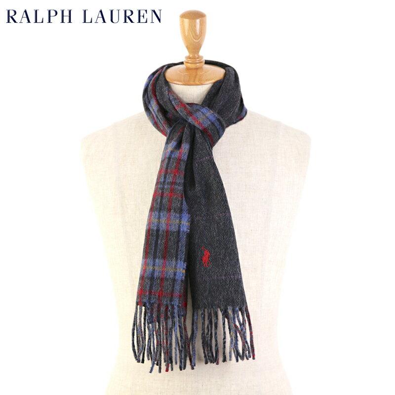 POLO by Ralph Lauren Double-Faced Scarf (BLUE) ラルフローレン ダブルフェイスのウール混紡 スカーフ マフラー