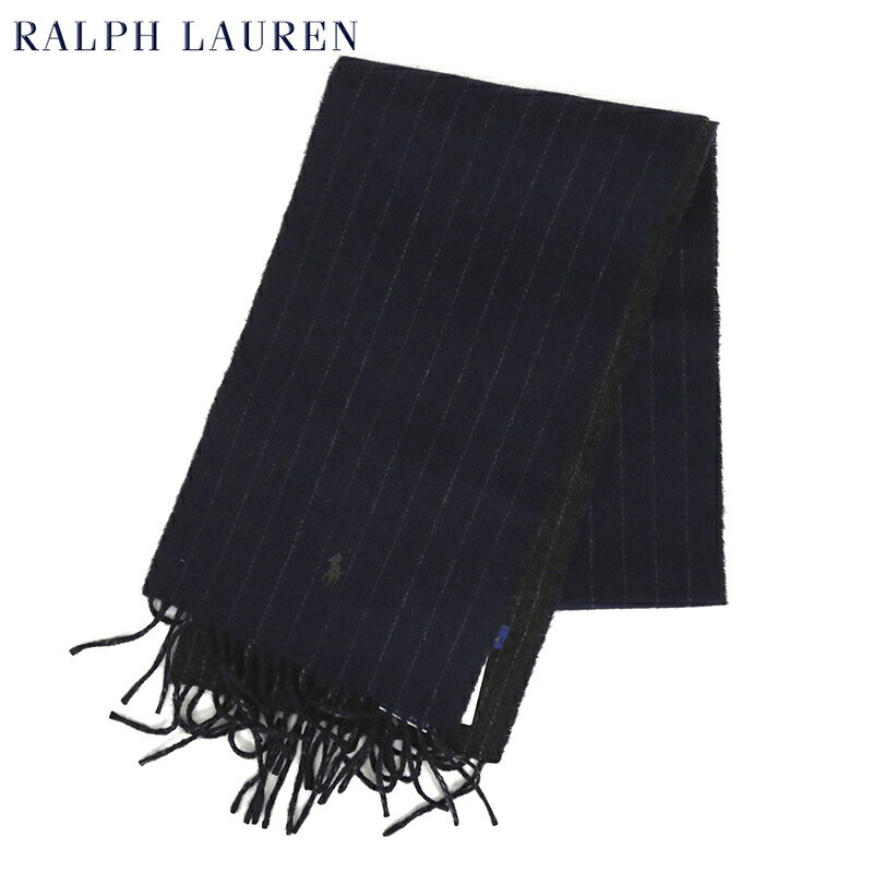 POLO by Ralph Lauren Double-Faced Scarf (HUNTER NAVY CHALK STRIPE) ラルフローレン ダブルフェイスのウール混紡 スカーフ マフラー