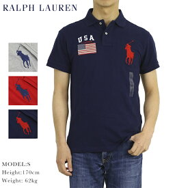 """ポロ ラルフローレン メンズ カスタムフィット アメリカ国旗 ビッグポニー刺繍 ポロシャツ POLO Ralph Lauren Men's """"USA FLAG"""" BIG PONY Polo Shirts US (UPS)"""