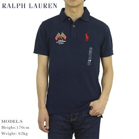 """ポロ ラルフローレン ビンテージ加工 鹿の子 ポロシャツ アメリカ国旗 POLO Ralph Lauren Men's """"USA FLAG"""" CUSTOM SLIM FIT Polo Shirt US"""