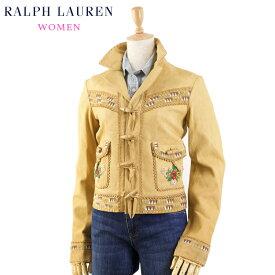(WOMEN) Ralph Lauren Women's Hippie Leather Jacket 女性用 ラルフローレン ヒッピー ビーズ刺繍 レザージャケット