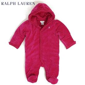 "(NB-9M) POLO by Ralph Lauren ""LAYETTE GIRL"" Velour Barn Bunting USラルフローレン (新生児)ベイビーサイズの ベロア カバーオール (UPS)"