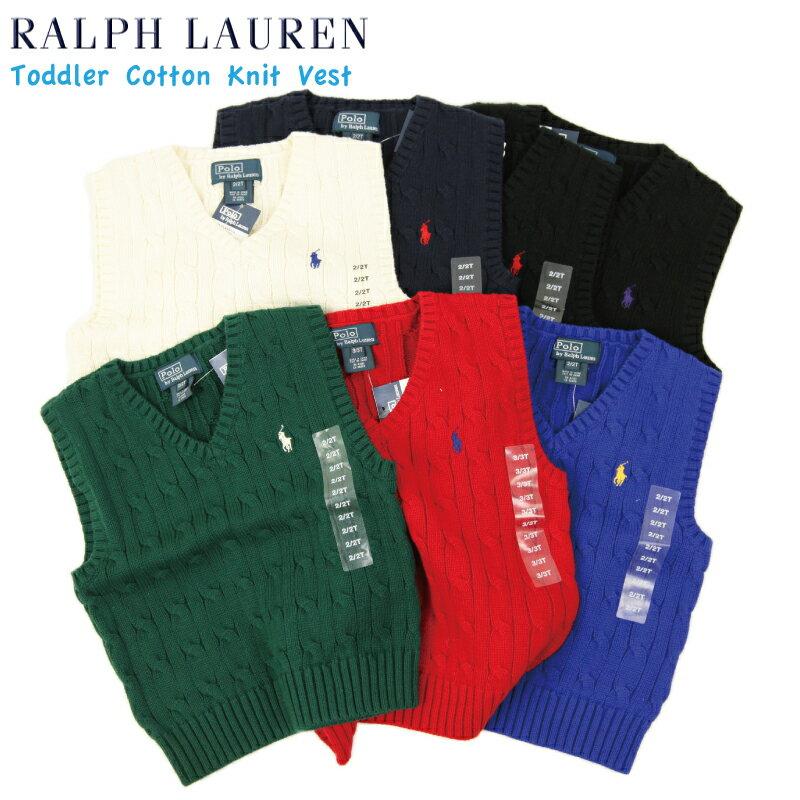 (TODDLER) Ralph Lauren Boy's(5-7) Cotton V-neck Sweater Vest ラルフローレン ボーイズ ニットベスト
