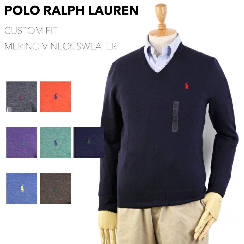 "Ralph Lauren Men's ""MERINO WOOL"" CUSTOM FIT V-neck Sweater US ポロ ラルフローレン Vネック メンズ メリノウール Vネック セーター (UPS)"