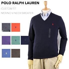 "Ralph Lauren Men's ""MERINO WOOL"" CUSTOM FIT V-neck Sweater US ポロ ラルフローレン Vネック メンズ メリノウール Vネック セーター"
