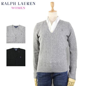 Ralph Lauren SPORT Women's Lambs Wool V-neck Cable Sweater USラルフローレン レディース セーター