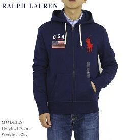 """ポロ ラルフローレン ジップアップスウェットパーカー アメリカ国旗 ビッグポニー フーディーPOLO Ralph Lauren Men's """"Big Pony"""" USA-FLAG Hoodie US"""