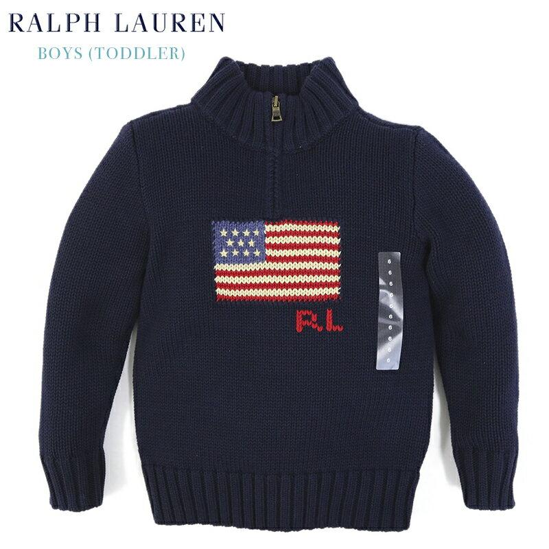 (2-7)Ralph Lauren Boy's(2-7) Half-Zip Flag Sweater ラルフローレン ボーイズ ハーフジップ アメリカ国旗 セーター