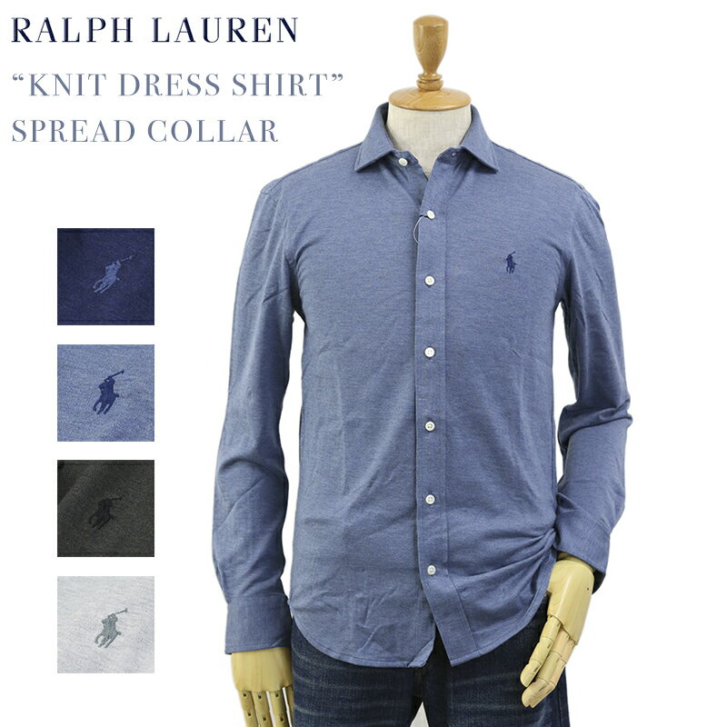 "Ralph Lauren Men's ""KNIT DRESS SHIRT"" Spread Collar Shirts US ポロ ラルフローレン スリムフィット ワイドカラー 長袖ニットシャツ"