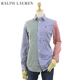 "Women Ralph Lauren ""CUSTOM FIT"" Stripe Poplin L/S Shirt ラルフローレン USレディース 長袖シャツ ワンポイント ブラウス 長袖シャツ ストライプ"
