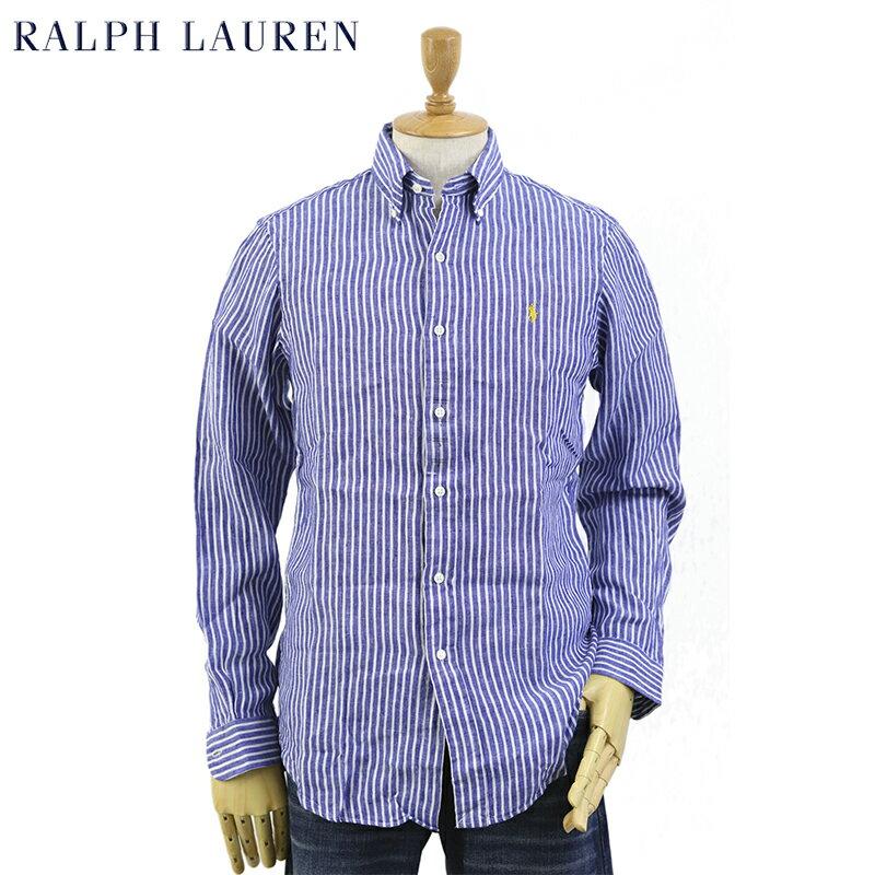"Ralph Lauren Men's ""STANDARD"" Linen Stripe B.D.Shirts US ポロ ラルフローレン ボタンダウン リネン ストライプ 長袖シャツ"