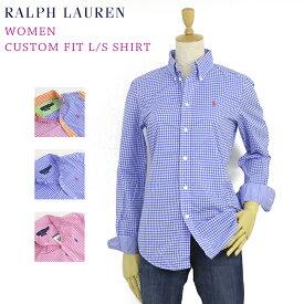 """Women Ralph Lauren """"CUSTOM FIT"""" Gingham L/S Shirt ラルフローレン USレディース 長袖シャツ ワンポイント ブラウス 長袖シャツ ギンガムチェック"""