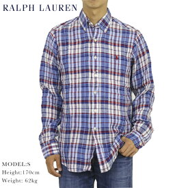 """ポロ ラルフローレン リネン ボタンダウン 長袖シャツ マドラスチェック クラシックフィット POLO Ralph Lauren Men's """"CLASSIC FIT"""" Madras Linen B.D.Shirts US"""