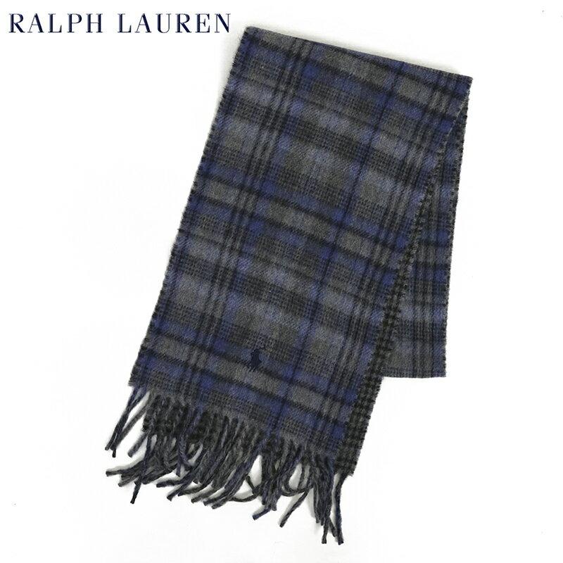 POLO by Ralph Lauren Double-Faced Scarf (GREY/SKY) ラルフローレン ダブルフェイスのウール混紡 スカーフ マフラー