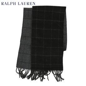 POLO by Ralph Lauren Double-Faced Scarf (BLACK) ラルフローレン ダブルフェイスのウール混紡 スカーフ マフラー
