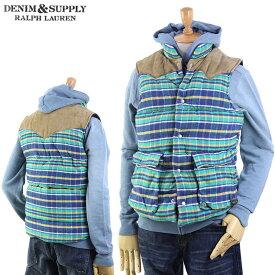 Denim & Supply Ralph Lauren Men's Outdoor Leather York Vest デニム&サプライ ラルフローレン メンズ 中綿ベスト (UPS)