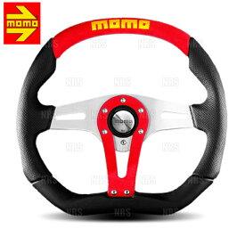 MOMO モモ TREK RED トレック レッド 350mm ブラックレザー、レッドアルカンターラ シルバー、レッドアルカンターラインサートスポーク(T-2