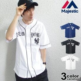 db0ba9f57c06d majestic マジェスティック ベースボールシャツ 半袖 メンズ NEWYORK YANKEES [MM21-NYK-8S05]
