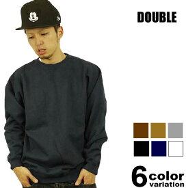 DOUBLE(ダブル) L/S裏起毛スウェットトレーナー(6色)【B系/HIPHOP/無地/長袖/SWEAT】【あす楽対応】