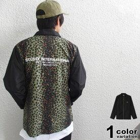 ステューシー STUSSY コーチジャケット Leopard Panel Jacket メンズ (stussy ジャケット コーチジャケット アウター レオパード柄 115450 ストゥーシー スチューシー) 【あす楽対応】