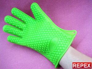 今話題の【5本指クッキンググローブ】グリーン・1枚価格・掴みやすい手形形状・男女兼用・左右対称・220℃のお湯も大丈夫です☆【0304superP10】生活雑貨