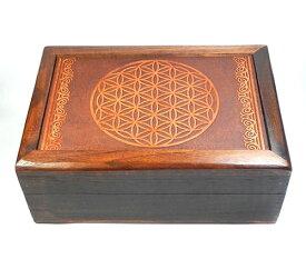 フラワーオブライフ・タロットボックス17×13cm浄化用ボックス・ケース/神聖幾何学図形 h002