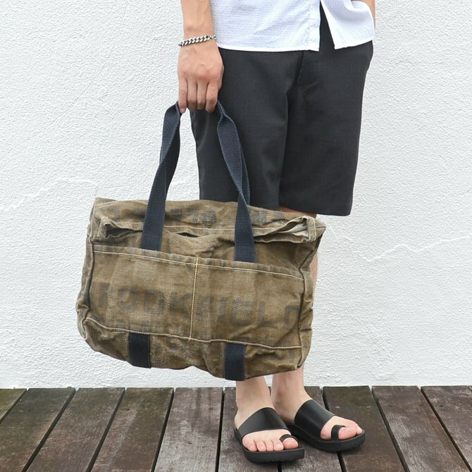 T.K GARMENT SUPPLY(ティーケーガーメントサプライ)/VINTAGE FABRIC TOTE BAG -KHAKI-