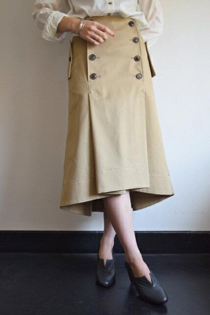 beautiful people(ビューティフルピープル)/ultimate pima twill trench tuck skirt /アルティメイトピマツイルトレンチタックスカート