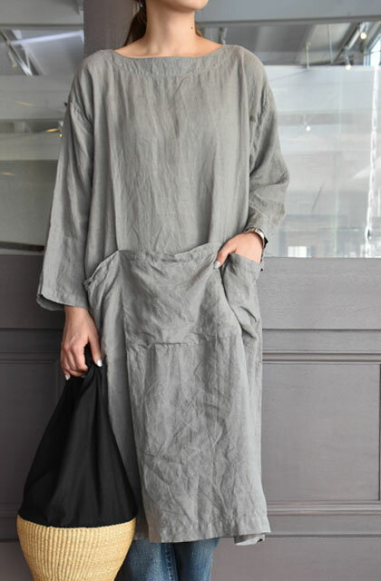 ARMEN(アーメン) / BOAT NECK 3/5SL ONE-PIECE WITH POCKET ポケットワンピース(2色展開)