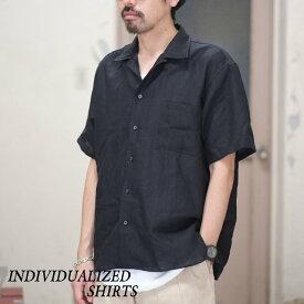 INDIVIDUALIZED SHIRTS(インディビジュアライズドシャツ)/ Linen Camp Collar Shirt S/S (AthleticFit) -BLACK- #IS1812110