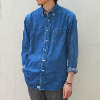orSlow(오아스로우)/ BUTTON DOWN SHIRTS -(95) denim 2 year wash-