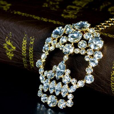 MASAAKi TAKAHASH ペンダントブローチ Crystal Skull スワロフスキークリスタル gold crystal