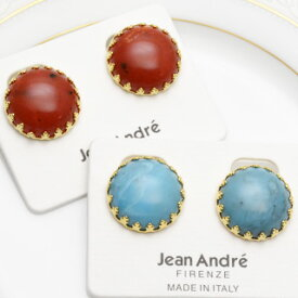 イタリア製アンティークイヤリング JeanAndre レッド、ターコイズ(ヨーロッパ/アクセサリー直輸入/レディース/インポート/コスチュームジュエリー)