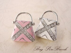 ピンブローチ「バッグ」 PB-ET1-16ピンク、白 ピンブローチ/ピンバッジ/タックピン/ブローチピン