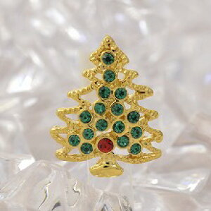 クリスマス モミの木ピンブローチ シルバー、ゴールド ピンブローチ/ピンバッジ/タックピン/ブローチピン クリスマスグッズ